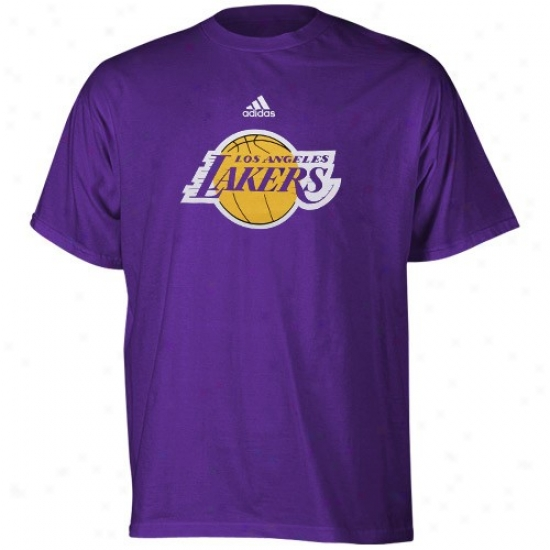Los Angeles Lakers Shirt : Adidas Los Angeles Lakers Youth Purple Primary Logo Shirt