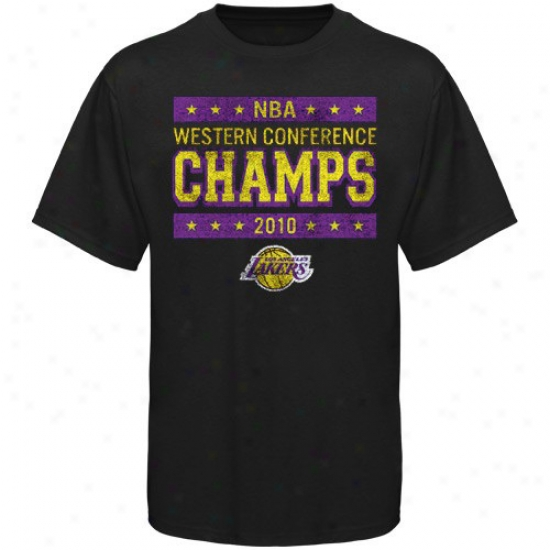 Los Angeleq Lakers Shirt : Sportiqe Los Angekes Lakers Black 2010 Nba Western Conference Champions Vintage Pep Shirt