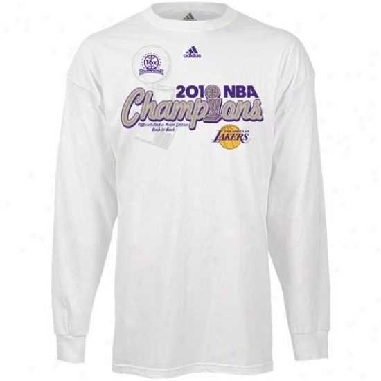 Los Angeles Lakers Shirts : Adidas Los Angeles Lakers Pure 2010 Nba Champions Center Court Elite Locker Room Long Sleeve Shirts