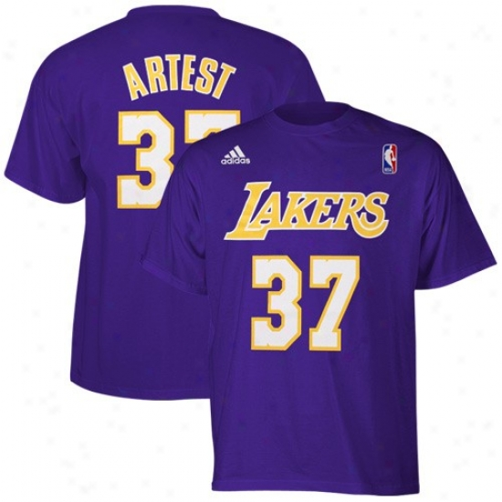 Los Angeles Lakers Shirts : Adidas Los Angeles Lakers #37 Ron Artest Purple Player Shirts