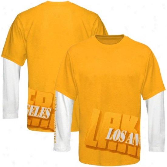 Los Angeles Lakers Shirts : Los Angeles Lakers Gold Two Fold Double Layer Long Sleeve Shirts