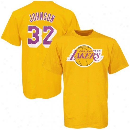 Los Angeles Lakers Shirts : Majestic Los Angelss Lakers #32 Magic Johnson Gold Shirts