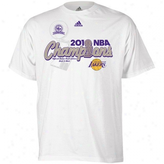 Los Angeles Lakers T Shirt : Adidas Los Angeles Lakers Young men White 2010 Nba Champions Center Court Elite Locker Room T Shirt