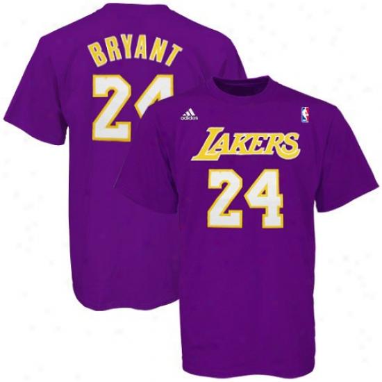 Los Angeles Lakers T Shirt : Adidas Los Angeles Lakers #24 Kobe Bryant Purple Net Player T Shirt