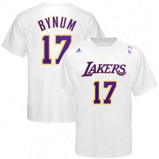 Los Angeles Lakers T Shirt : Adidas Los Angeles Lakers #17 Andrew Bynum White Net Player T Shirt