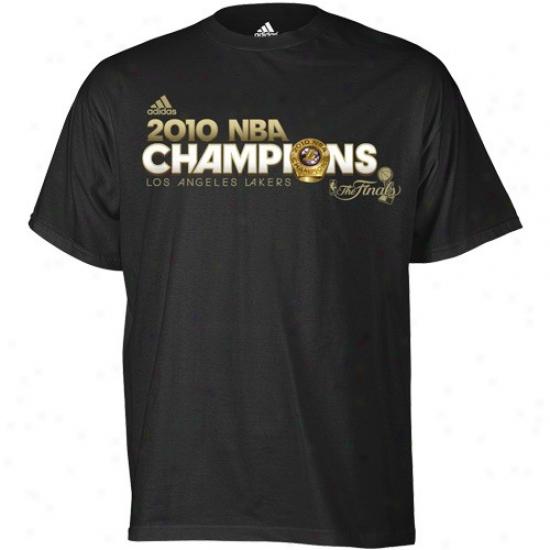 Los Angeles Lakers T Shirt : Adidas Los Angeles Lakers Black 2010 Nba Champions God Standard Ring T Shirt