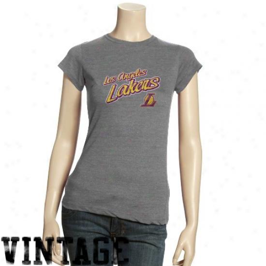 Los Angeles Lakers T-shirt : Los Angeles Lakers Ladies Ash Basic Logo Triblend T-shirt