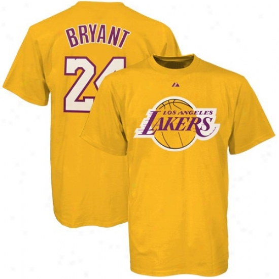 Los Angeles Lakers T Shitr : Elevated Los Angeles Lakers Gold #24 Klbe Bryant Player T Shirt