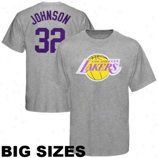 Los Angeles Lakers T Shirt : Majestic Los Angeles Lakers #32 Earvin ''magic'' Johnson Ash Retired Player Throwback Big Sizes T Shirt