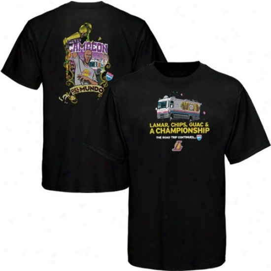 Los Angeles Lakers T-shirt : Sportiqe-espn Los Angelees Lakers #7 Lamar Odom Black Rb Road Trip T-shirt
