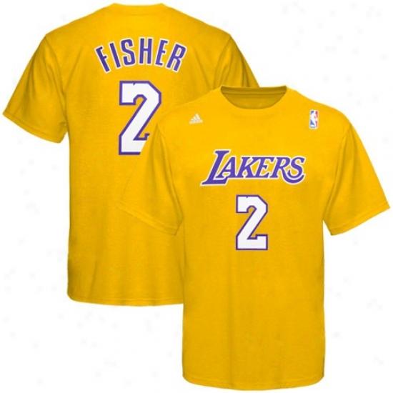 Los Angeles Lakers Tee : Adidas Los Angeles Lakers #2 Derek Fisherman Gold Net Player Tee