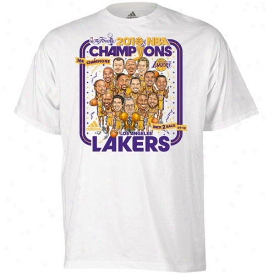 Los Angeles Lakers Tee : Adidas Los Angeles Lakers Youth White 2010 Nba Champions Caricature Parade Tee