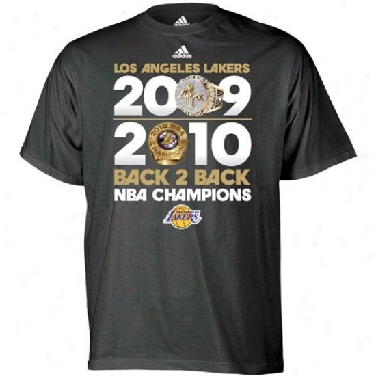 Los Angeles Lakers Tee : Adidas Los Angeles Lakers Black 2010 Nba Champions Ring To Ring Tee