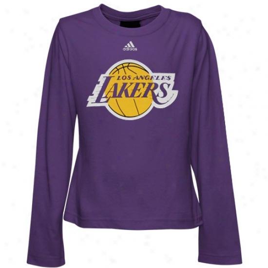 Los Angeles Lakers Tee : Adidas Los Angeles Lakers Youth Girls Purple Team Logo Long Sleeve Tee