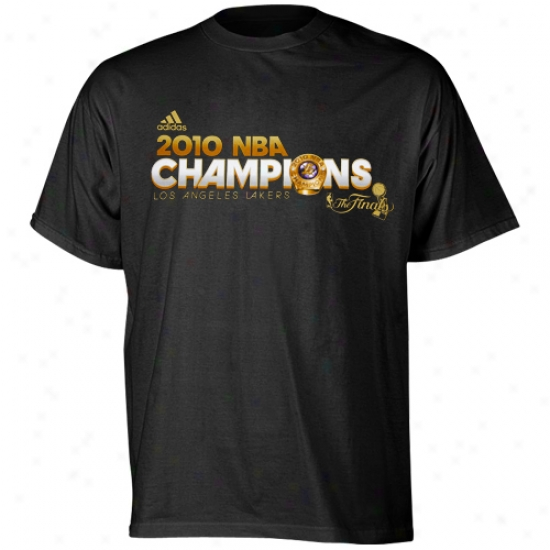 Los Angeles Lakers Tees : Adidas Los Angeles Lakers Youth Black 2010 Nba Champions Gold Standard Ring Tees