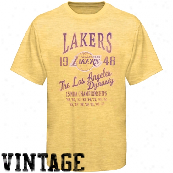 Los Angeles Lakers Tees : Los Angeless Lakers 2009 Nba Champions Gold Dynasty Premium Vintage Tees