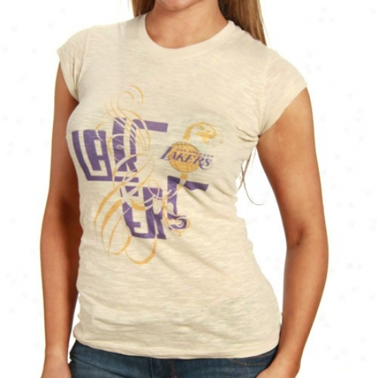 Los Angeles Lakers Tees : Los Angeles Lakers Ladies Cream Graffiti Script Premium Slub Tees
