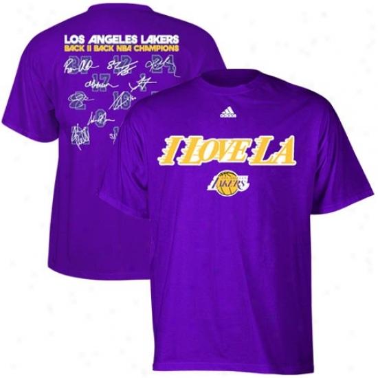 Los Angeles Lakers Tshir : Adidas Los Angeles Lakers Purplr 2010 Nba Champions Back Ii Back Tshirt