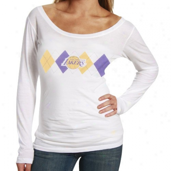 Los Angeles Lakers Tshirt : Los Angeles Lakers Ladies White Argyle Long Sleeve Annual rate  Tshirt