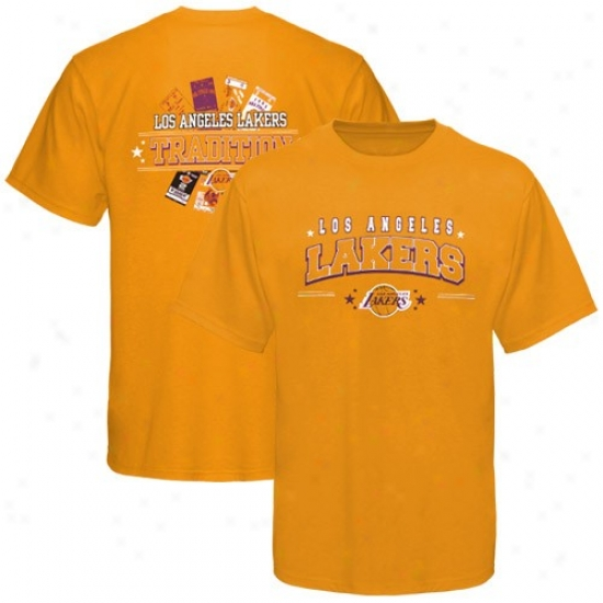 Los Angeles Lakers Tqhirt : Majestic Los Angeles Lakers Gold Ticket History Iii Tshirt