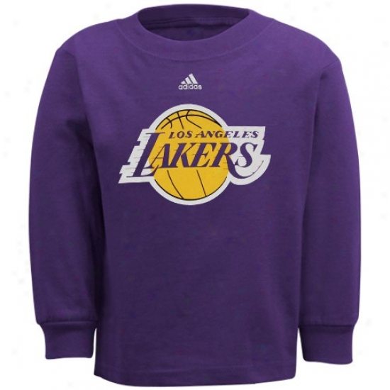 Los Angeles Lakers Tsirts : Adidas Los Angeles Lakers Toddler Purple Primary Logo Long Sleeve Tshirts