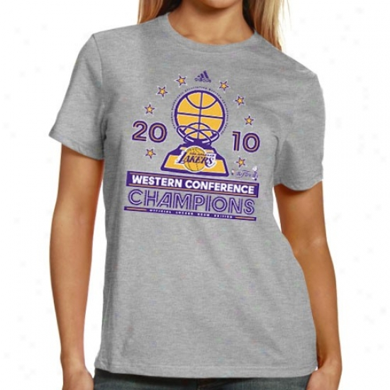 Los Angeles Lakers Tshirts : Adidas Los Angeles Lakers 2010 Nba Western Conference Champions Ladies Ash Conference Elite Official Locker Room Tshirts