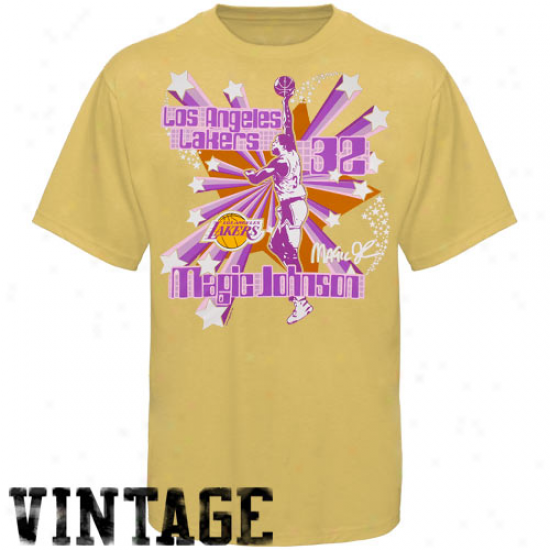 Los Angeles Lakers Tshirts : Los Angeles Lakers Magic Johnson Gold Respected Vintage Tshirts