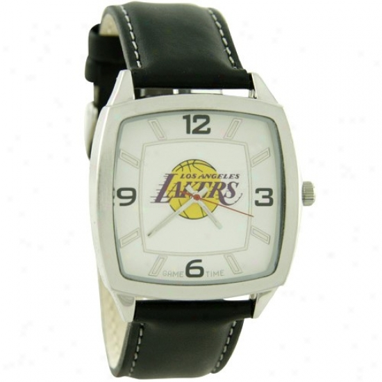 Los Angeles Lakers Watches : Los Angeles Lakers Retro Watches W/ Leather Band