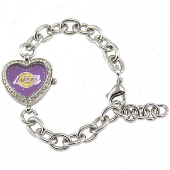 Los Angeles Lakers Wrist Watch : Los Angeles Lakers Ladies Silver Heart Wrist Watch