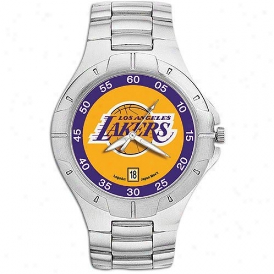 Los Angeles Lakers Wrist Watch : Los Angeles Lakers Men's Pro Ii Wrist Watch W/stainless Steel Band