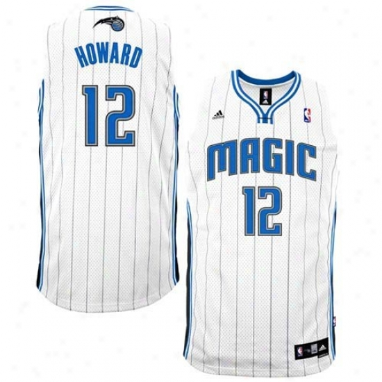 Magic Jersey : Adidas Magic #12 Dwight Howard White Home Swingman Basketball Jersey