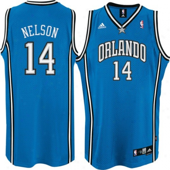 Magic Jersey : Adidas Magic #14 Jameer Nelson Royal Azure Swingman Basketball Jersey