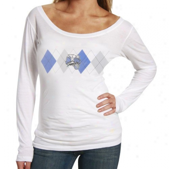 Magic Tee : Magic Ladies White Argyle Long Sleeve Premium Tee