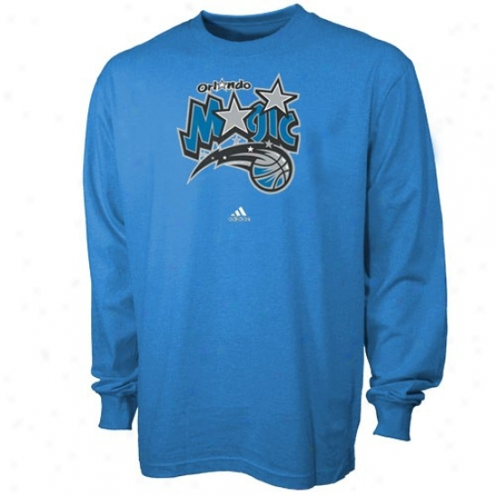 Magic Teeq : Adidas Magic Blue Primary Logo Long Sleeve Tees