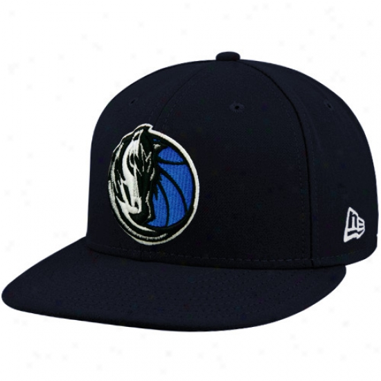 Mavericks Hat : New Era Mavericks Navy 59fifty Elementary Logo Flat Brim Fitted Hat