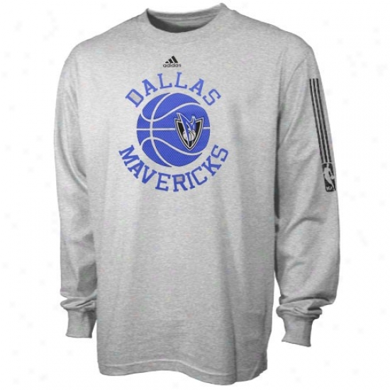 Mavericks Shirt : Adidas Mavericks Youth Ash True Ensnare Ball Long Sleeve Shirt