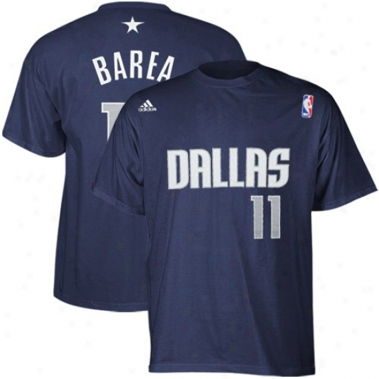 Mavericks Tee : Adidas Mavericks #11 Jose Juan Barea Navy Blue Net Player Tee