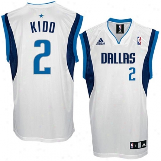 Mavs Jerseys : Adidas Mavs #2 Jason Kidd White Replica Basketball Jerseys