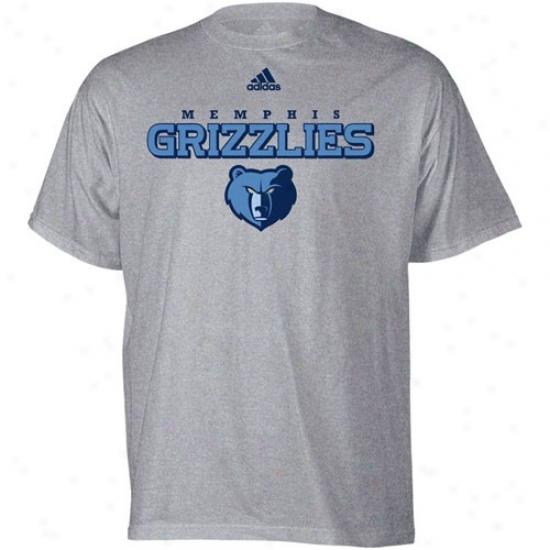 Memphis Grizzlie Apparel: Adidas Memphis Grizzlie Ash True Court T-shjrt