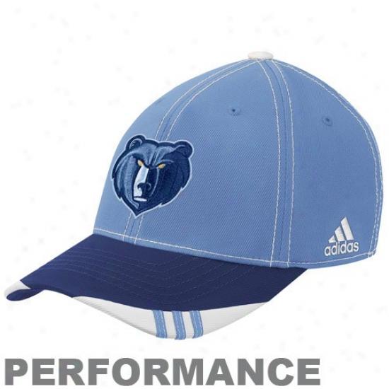 Memphis Grizzlie Hat : Adidas Memphis Grizzlie Light Blue-navy lBue Official On Court Performance Flex Fit Haat