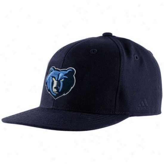 Memphis Grizzlie Hats : Adidas Memphis Grizzlie Navy Blue Basic Logo Fitted Hats