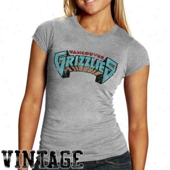Memphis Grizzlie Tees : Vannouver Grizzlies Ladies Ash Basic Throwback Logo Triblend Tees