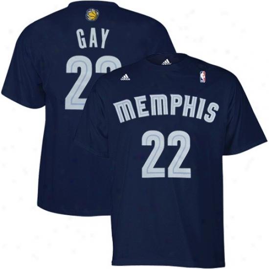 Memphis Grizzlies Apparel: Adidas Memphis Grizzlies #22 Rudy Gay Navy Blue Player T-shirt