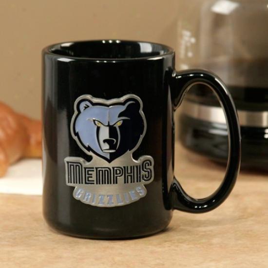 Memphis Grizzlies Black 15oz. Pewter Logo Ceramic Mug