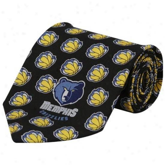 Menphis Grizzlies Black Logo Print Silk Neck Tie