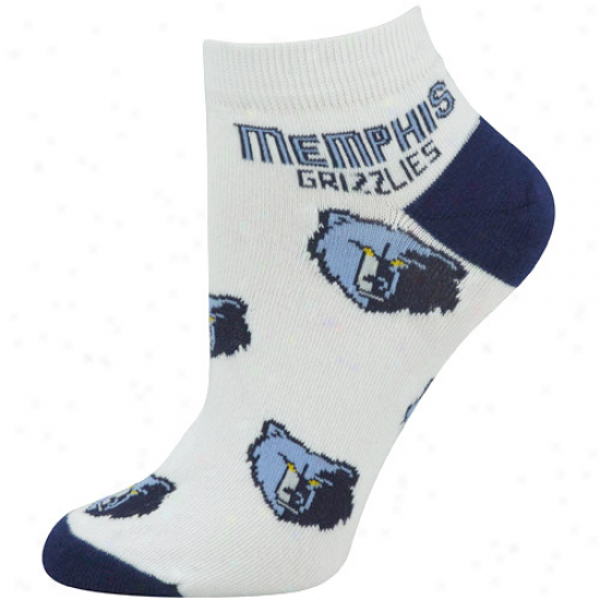 Memphis Grizzlies Ladies White All Over Team Logo Ankle Socks