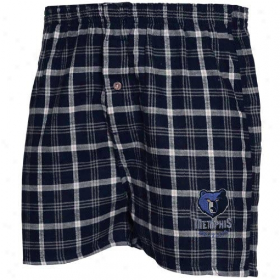 Memphis Grizzlies Navy Blue Plaid Tailgate Boxer Shorts