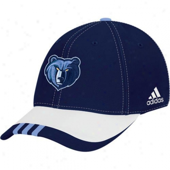 Memphis Grizzly Gear: Adidas Memphis Grizzly Navy Blue Youth Draft Day Flex Fit Hat