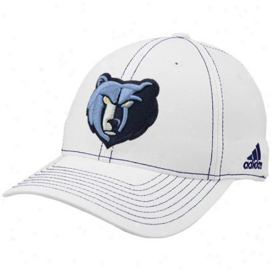 Memphis Grizzlys Caps : Adidas Memphis Grizzlys White Team Logo Structured Flex-fit Caps
