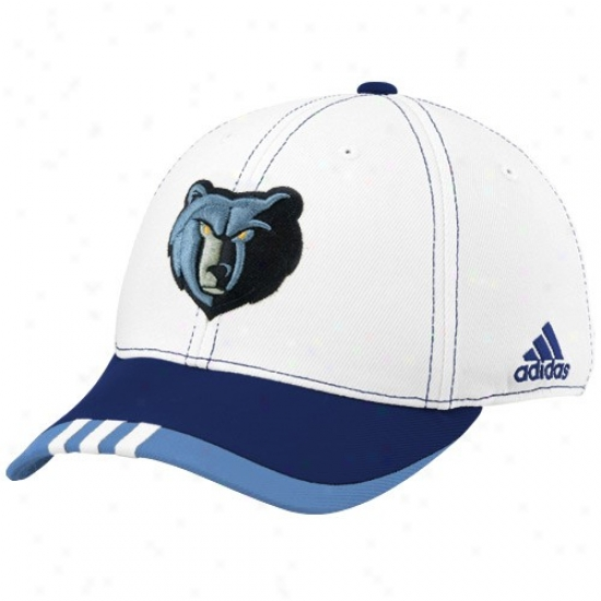 Memphis Grizzlys Merchandise: Adidas Memphis Grizzlys White On Court Flex Fit Hat